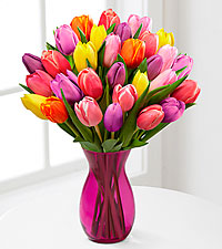 Life in Color Tulip Bouquet - PINK VASE INCLUDED