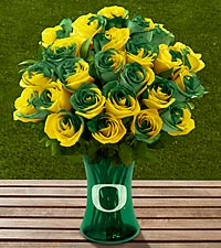 The FTD® University of Oregon® Ducks™ Rose Bouquet - VASE INCLUDED
