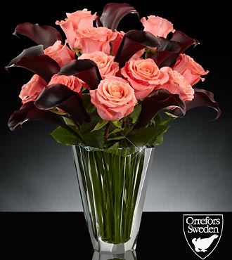 Midnight Sun Luxury Rose & Calla Lily Bouquet in Orrefors Precious Crystal Vase