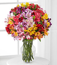 The FTD ® Pick Me Up ® Rainbow Discovery Peruvian Lily Bouquet - VASE INCLUDED