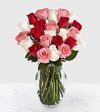 Two Dozen Sweetheart Roses with Vase
