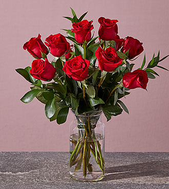 Long Stem Red Rose Bouquet FREE VASE INCLUDED