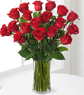 18 Long Stem Red Roses - VASE INCLUDED