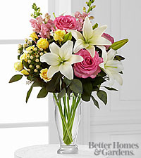 The FTD ® Blooming Rose & Lily Bouquet by Better Homes and Gardens ® - VASE INCLUDED
