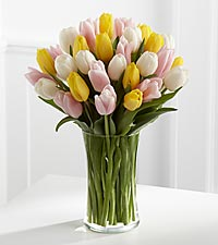 Sunset Escape Tulip Bouquet - VASE INCLUDED