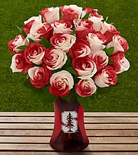 The FTD® Stanford® University Cardinal™ Rose Bouquet - VASE INCLUDED