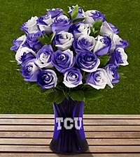 The FTD&reg; Texas Christian University&trade; Horned Frogs&trade; Rose Bouquet - VASE INCLUDED