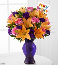 Blooming Birthday Rose & Lily Bouquet - VASE INCLUDED