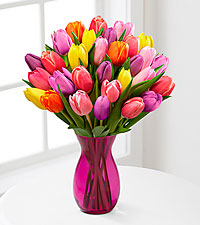 Life in Color Tulip Bouquet - 30 Stems - PINK VASE INCLUDED