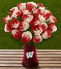 The FTD® University of Wisconsin Badgers™ Rose Bouquet - VASE INCLUDED
