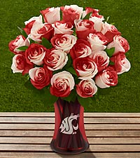The FTD® Washington State University® Cougars™ Rose Bouquet - VASE INCLUDED