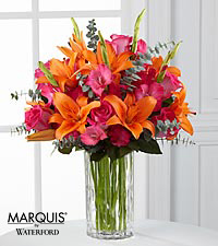 Sweet Samba Rose & Lily Bouquet in Waterford® - VASE INCLUDED