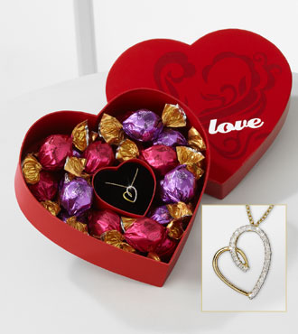 My Heart is Yours Pendant & Godiva® Chocolate Truffles Gift