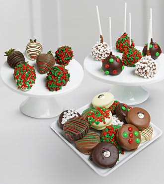 Chocolate Dip Delights Holiday Real Chocolate Covered Oreo Cake Pops, Strawberries-24 Pc