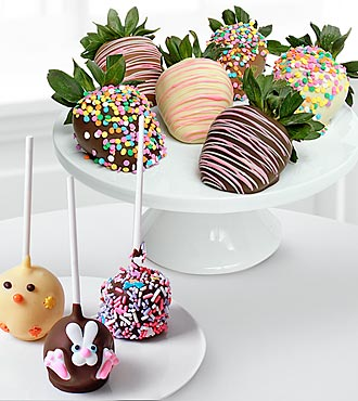 Chocolate Dip Delights? Easter Sweets Real Chocolate Strawberry & Cake Pop Combo