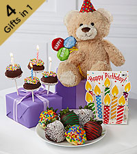 Belgian Chocolate Dipped Birthday Berry, Brownie Pop, Bear & Card