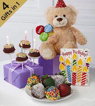 Chocolate Dip Delights Birthday Blast Real Chocolate Strawberry & Brownie Pop, Bear & Card