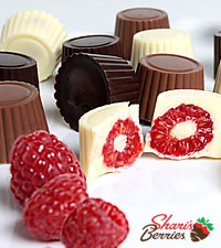Golden Edibles™ Belgian Chocolate Covered Raspberries - 24-piece
