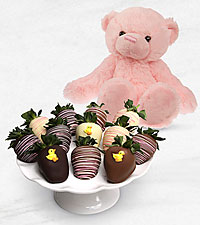 Belgian Chocolate Dipped Baby Girl Sweetness Berries with Plush Bear