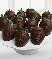 Golden Edibles&trade; Belgian Dark Chocolate Covered Strawberries - 12-piece