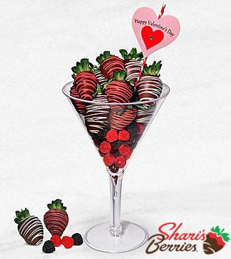 Valentine Love-tini Belgian Chocolate Covered Berry Martini Glass