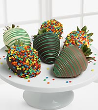 Golden Edibles&trade; Celebration Belgian Chocolate Covered Strawberries - 6-piece