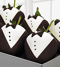Golden Edibles&trade; Groomsmen Belgian Chocolate Covered Strawberries - 12-piece