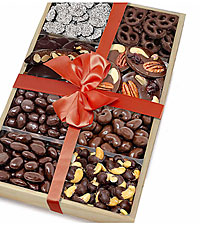 Dark Belgian Chocolate Covered Nut & Snack Gift Tray Set