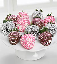 Golden Edibles&trade; It's a Girl! Belgian Chocolate Covered Strawberries - 12-piece
