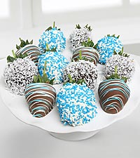 Golden Edibles™ It's a Boy! Belgian Chocolate Covered Strawberries - 12-piece