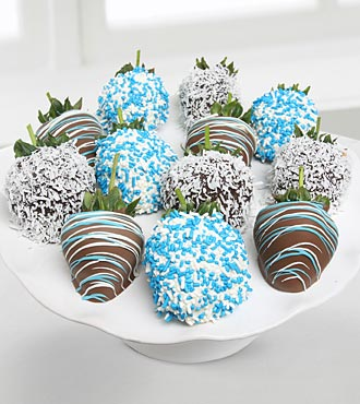 Golden Edibles&trade; It's a Boy! Belgian Chocolate Covered Strawberries - 12-piece
