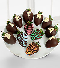 Golden Edibles™ Happy Birthday Belgian Chocolate Covered Strawberries - 12-piece