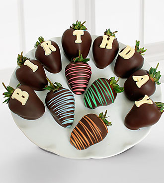 Golden Edibles&trade; Happy Birthday Belgian Chocolate Covered Strawberries - 12-piece