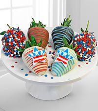 Golden Edibles™ Celebrate the USA Belgian Chocolate Covered Strawberries - 6 piece