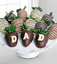 Golden Edibles™ Happy Father's Day Dad Belgian Chocolate Covered Strawberries - 12 piece