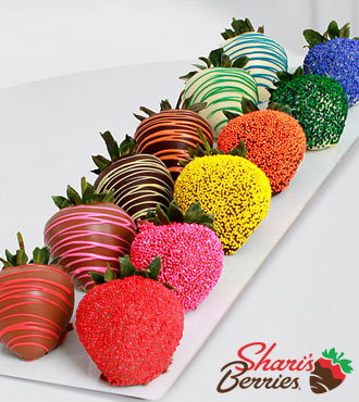 The FTD Pick Me Up Real Chocolate Dipped Rainbow Strawberries -12 pieces