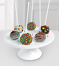 Belgian Chocolate Dipped Birthday Celebration Cake Pops - 6-piece
