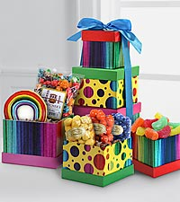 The FTD ® Pick Me Up™ Rainbow Rush Gourmet Sweets & Treats Tower