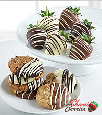 Golden Edibles™ Hand Dipped Belgian Chocolate Covered Strawberries & Cookie Combo
