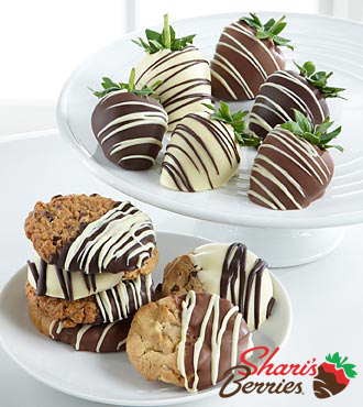 Chocolate Dip Delights Hand Dipped Real Chocolate Covered Strawberries & Cookie Combo