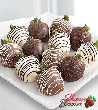 Valentines Day Chocolate Strawberries, Triple Dipped - 12 Piece
