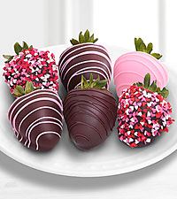 Valentine 's Day Real Chocolate Covered Strawberries - 6-piece
