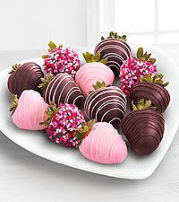 Chocolate Dip Delights™ Valentines Day Real Chocolate Covered Strawberries - 12-piece