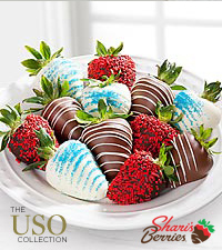 Chocolate Dipped Patriotic Strawberries - 12-piece