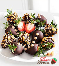 Chocolate Dipped Peanut Brittle Strawberries - 12 piece