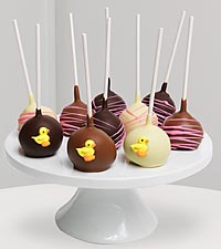 Golden Edibles&trade; Baby Girl Belgian Chocolate Dipped Cake Pops