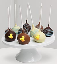 Golden Edibles&trade; Baby Boy Belgian Chocolate Dipped Cake Pops