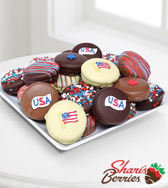Golden Edibles&trade; Sweet Land of Liberty Belgian Chocolate Covered Oreo&reg; Cookies