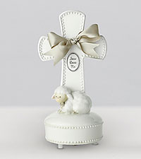 Jesus Loves Me New Baby Musical Keepsake Cross