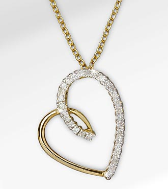 0.05 cttw Diamond Accent Heart 14K Gold over Sterling Silver Pendant